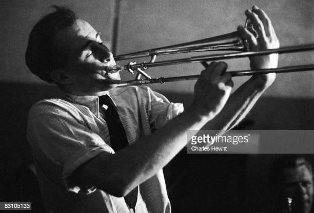 Trombonist John Pickard performing at at Cy Laurie's Soho basement jazz club the Blue Heaven 10th July 1954 Original publication Picture Post 7208...