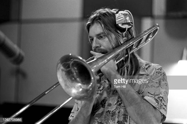 Ken Walther of east LA funky horn band Elijah works on recording Elijah Fanfares for Sounds Of The South Records at Studio I in 1973 in Atlanta...