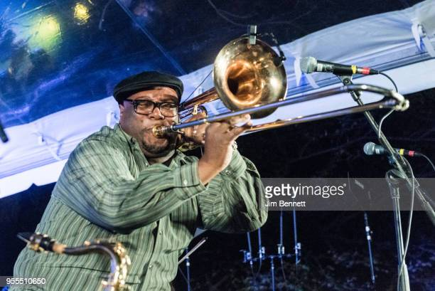 Trombonist Ronell Johnson of Preservation Hall Jazz Band performs live on stage at Ray Benson's 67th birthday party concert benefiting Health...