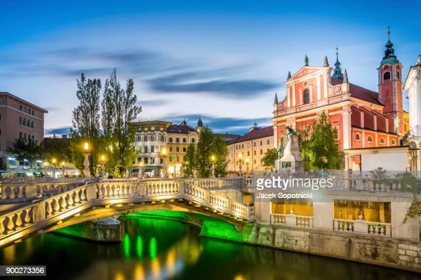 Tromostovje in the city center, Ljubljana, Slovenia