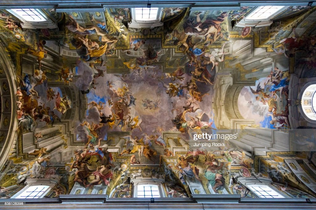 Trompe l\'oeil ceiling fresco by Andrea Pozzo, Rome, Italy Pictures ...
