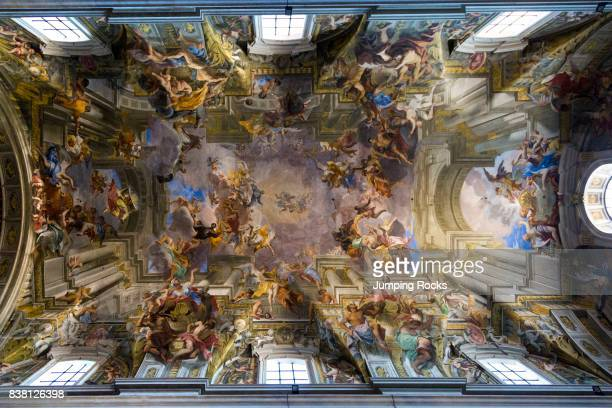 Trompe l'oeil ceiling fresco by Andrea Pozzo Church of SantÍIgnazio Rome Italy