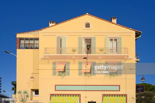 Trompe l'Oeil Mural or Wall Painting on House Facade Cannes