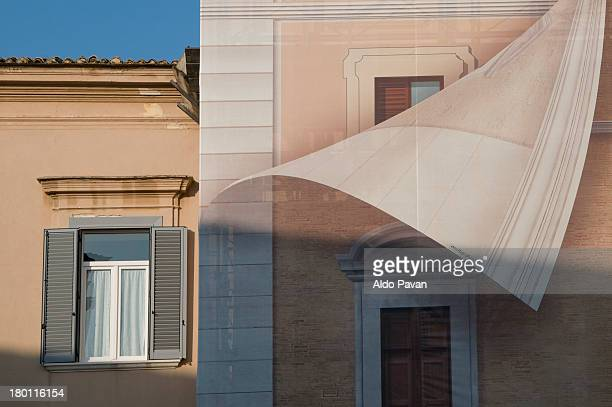 Trompe l'oeil on the facade of a house