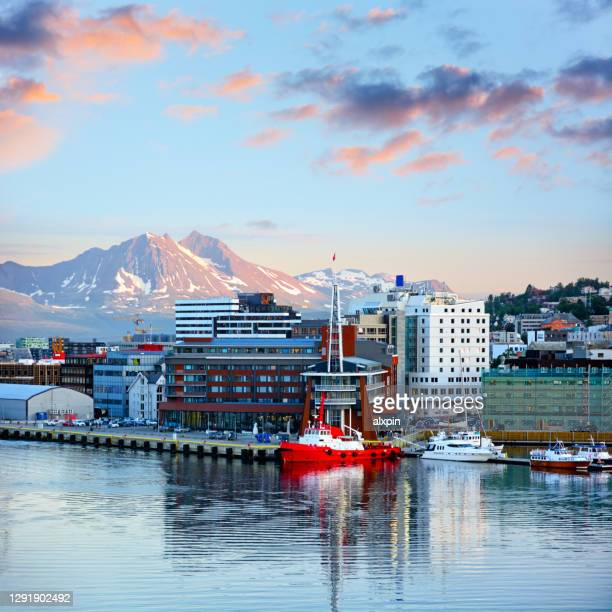 tromso harbour, norway - town stock pictures, royalty-free photos & images