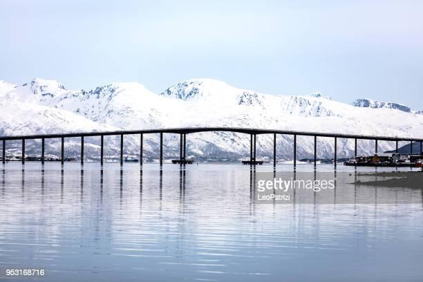 ponte alta de tromso no fiorde - alto descrição geral - fotografias e filmes do acervo