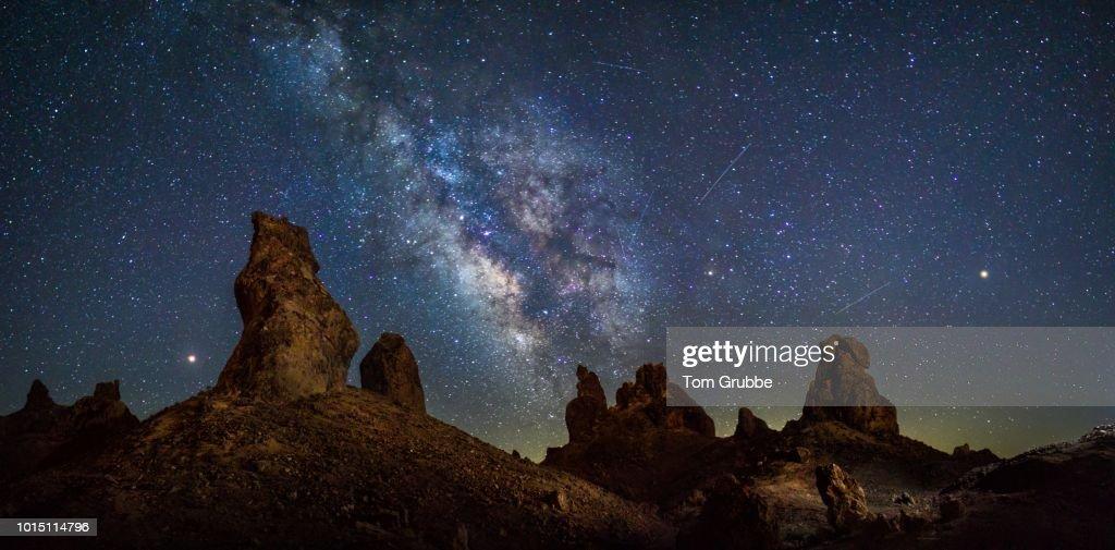 Trona Pano - Mars, Jupiter, Perseid : Stock Photo