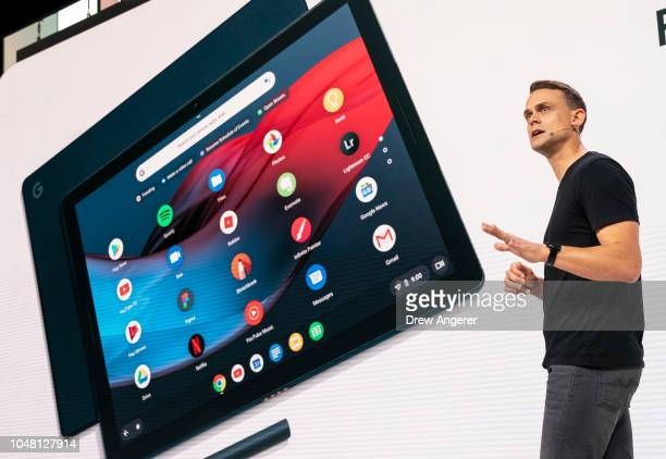 Trond Wuellner director of Product Management at Google discusses the new Google Pixel Slate tablet during a Google product release event October 9...