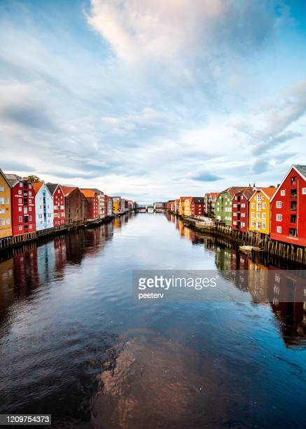 """trondheim, norway - view from old town bridge - """"peeter viisimaa"""" or peeterv stock pictures, royalty-free photos & images"""