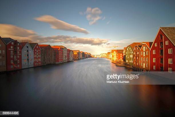 Trondheim old town waterfront colourful buildings