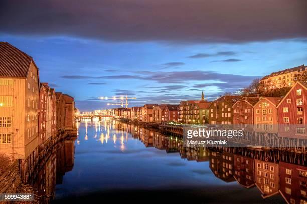 Trondheim stilt wooden colourful hoses canal