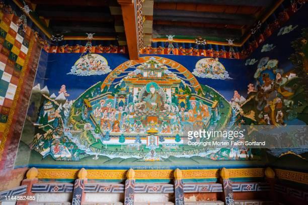 trongsa dzong painted art - trongsa district stockfoto's en -beelden