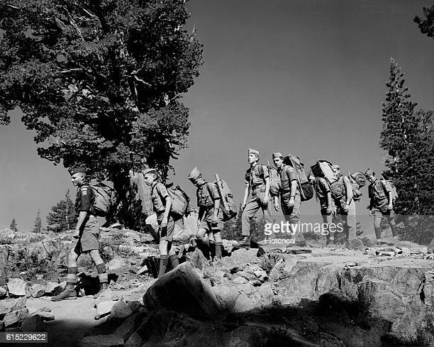 A troop of Boy Scouts for Camp Harvey West practice hiking with backpacks in prepartion for a trip into the Desolation Valley Primative Area The...
