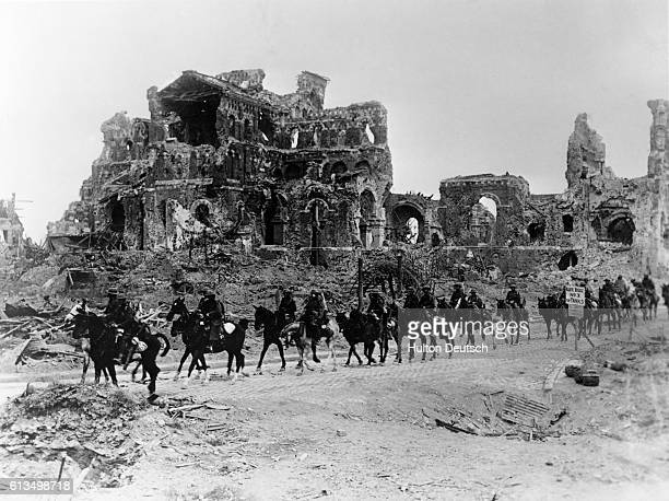 A troop of British cavalry pass the remains of Albert Cathedral during the second Battle of the Somme The Battle of the Somme was costly in terms of...