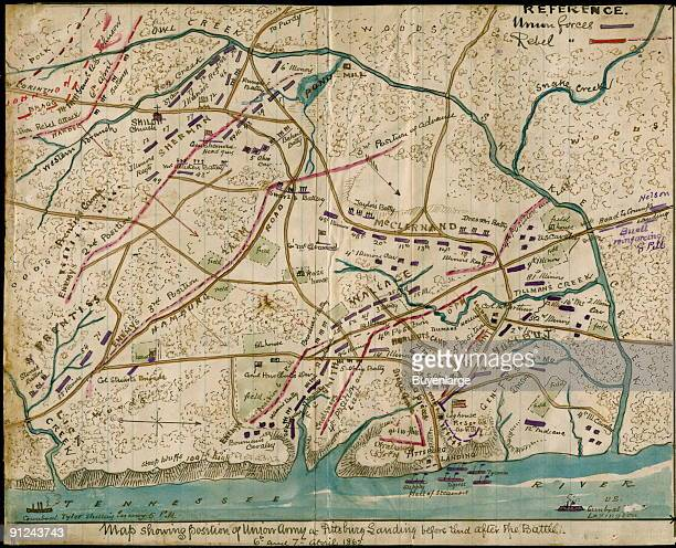 Troop positions during the Battle of Shiloh Tenn Shows the area of Owl Creek to the north and the location of Pittsburg Landing along the Tennessee...