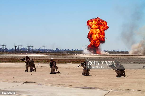 Troop soldiers demo team performing a live fire