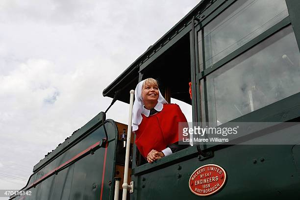 Troop Train passenger Regie Lewis stands in the drivers room on April 20, 2015 in Winton, Australia. The 2015 ANZAC Troop Train Re-Enactment...