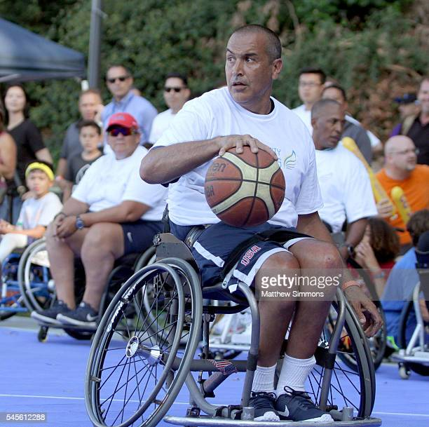Trooper Johnson plays in a celebrity wheelchair basketball game during the 2nd Annual Angel City Games at UCLA's Drake Stadium on July 8, 2016 in...
