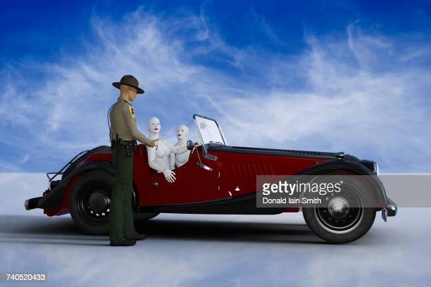 Trooper talking to robot women driving vintage car