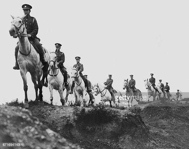 Troopers of the Royal Scots Greys regiment during a training exercise over Long Valley as the last horse mounted cavalry regiment in the British Army...
