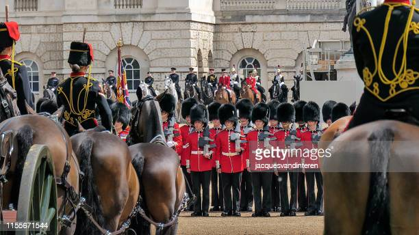 trooping the colour in london, united kingdom - horse guards parade stock pictures, royalty-free photos & images