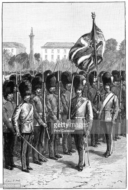 Trooping the Colour on the queen's birthday St James's Park London 1900 Military event to celebrate Queen Victoria's birthday Illustration from The...