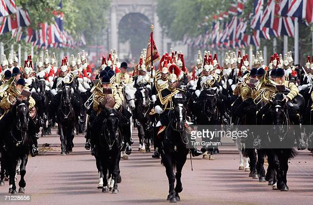 Trooping the Colour procession in the Mall of the Household Division of the Blues and Royals and Lifeguards regiments on June 17 2006 in London...