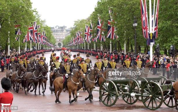 Trooping The Colour The Queen's Official Birthday Which Is Celebrated Each Year With A Military Parade And Marchpast The Procession Going Up The Mall...