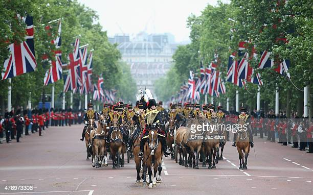 Troops advance down the Mall during the Trooping the Colour on June 13 2015 in London England The ceremony is Queen Elizabeth II's annual birthday...