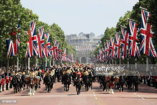 Troops advance down the Mall during Trooping The Colour on June 9 2018 in London England The annual ceremony involving over 1400 guardsmen and...