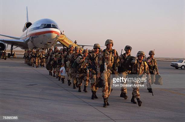 US troops arrive in Saudi Arabia to take part in Operation Desert Shield during the Gulf War 1990