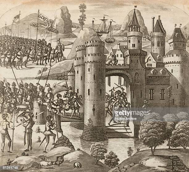 1347 Troops attacking a moated fort in a scene from the Battle of Calais during the Hundred Years War Calais was captured by Edward III after a long...
