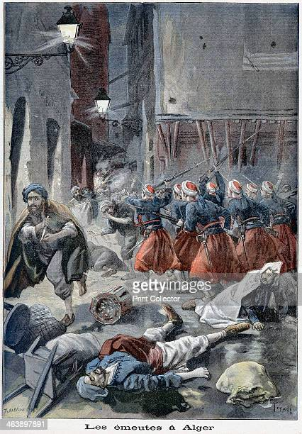 Troops attempting to clear streets during antiJewish riots Algiers Algeria 1898 From Le Petit Journal The body of a victim of the violence lies on...