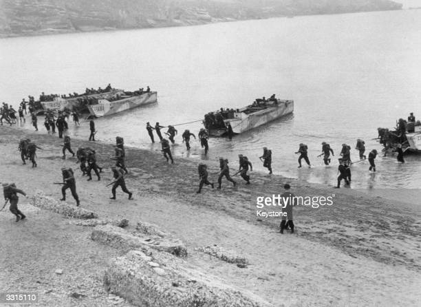 Troops coming ashore during training exercises for the Allied D-Day invasion.