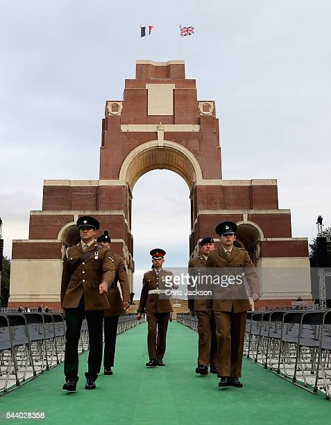 Troops finish an all-night vigil at Thiepval Memorial to the Missing of the Somme during Somme Centenary Commemorations on July 1, 2016 in Thiepval,...