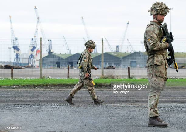 Troops from 4 Regiment Royal Logistic Corps deploy to the Port of Hartlepool as they take part in a largescale military exercise on November 27 2018...