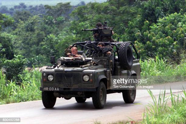 Troops from the 1st Battalion the Parachute Regiment on the Masiaka Road after a raid near Freetown Sierra Leone when Six British soldiers held by...