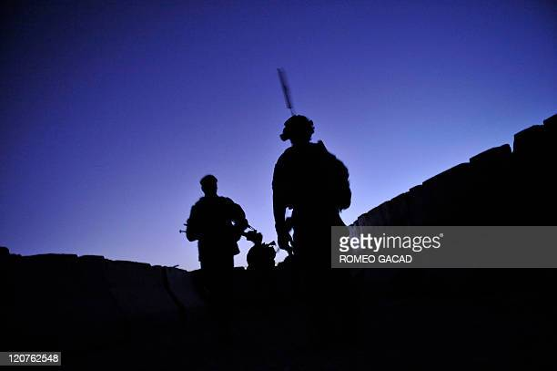 US troops from the 2nd Platoon Charlie Company 287 3BCT under Afghanistan's International Security Assistance Force and Afghan National Army soldiers...