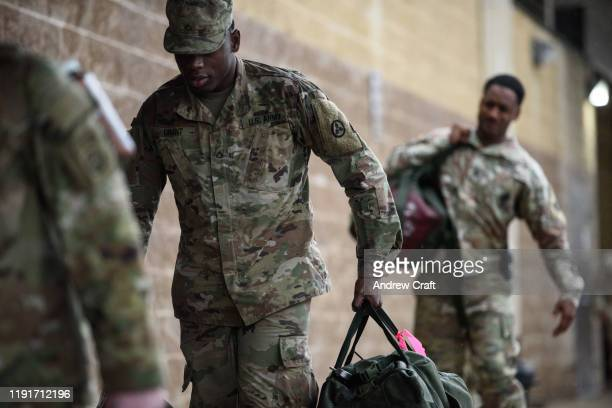 S troops from the Army's 82nd Airborne Division arrive at Green Ramp for a deployment to the Middle East on January 4 2020 in Fort Bragg North...