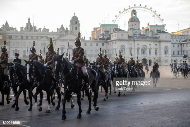 Troops from the Household Division process out of Horse Guards Parade on July 7 2017 in London England The Household Division rehearse during the...