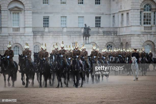 Troops from the Household Division rehearse military manoeuvres in Horse Guards Parade July 7 2017 in London England The Household Division rehearse...