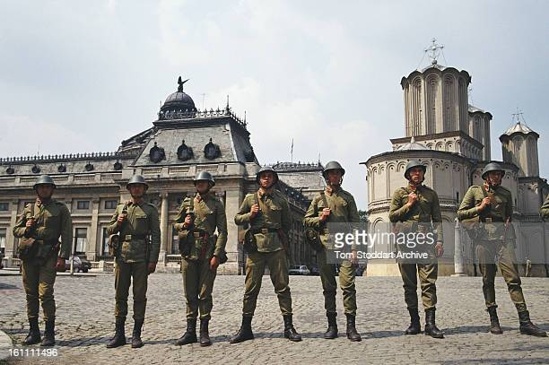 Troops guard the old parliament building in Bucharest after the Romanian Revolution 1990 Parliament was moved to the Palace of the Parliament after...