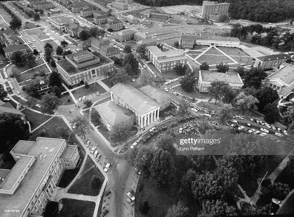 US troops in Oxford during riots vs enrollment of African American, James H. Meredith, at Univ. of Mississippi.