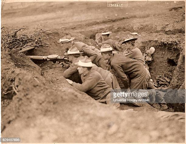 US Troops in Trench WWI circa 1918