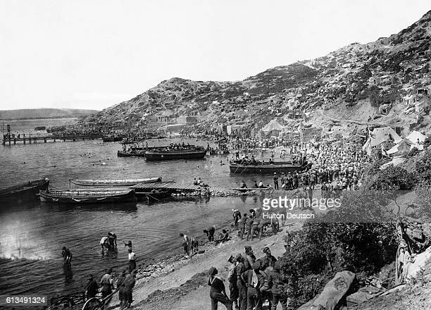 Troops land at Anzac Cove in the Dardanelles during the battle between Allied forces and Turkish forces at the Gallipoli Peninsula for access to the...