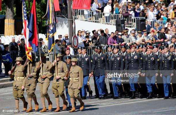 S troops march down the ChampsElysees avenue during the traditional Bastille day military paradet on July 14 2017 in Paris France Bastille Day the...