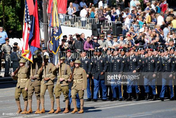 S troops march down the ChampsElysees avenue during the traditional Bastille day military parade on July 14 2017 in Paris France Bastille Day the...