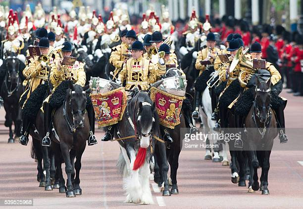 Troops march down The Mall during the Trooping the Colour this year marking the Queen's official 90th birthday at The Mall on June 11 2016 in London...