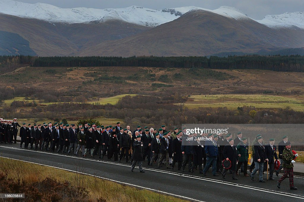 Troops march during a Remembrance Sunday ceremony at Commando Memorial on November 11, 2012 in Spean Bridge, Scotland. Remembrance Sunday tributes were carried out across the nation to pay respects to all who those who lost their lives in current and past conflicts, including the First and Second World Wars