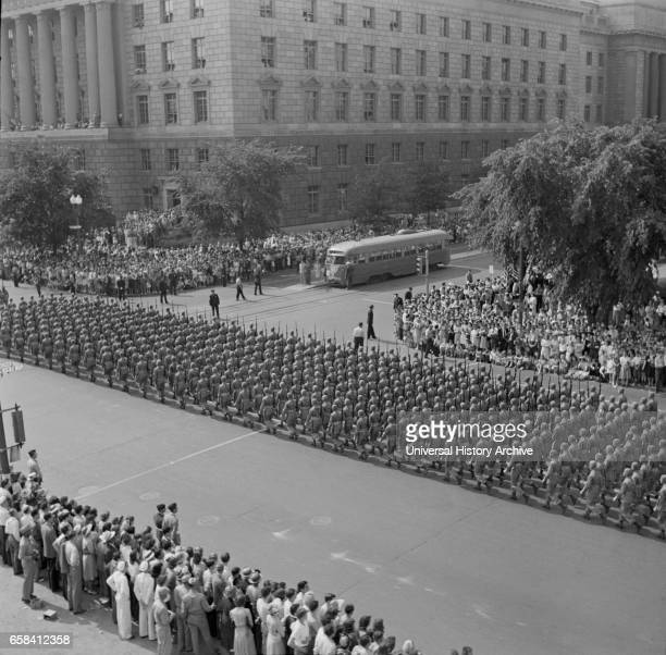 Troops Marching in Memorial Day Parade Washington DC USA Royden Dixon Office of War Information May 1942